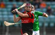 19 September 2021; Jon Nolan of Mount Leinster Rangers has a shot on goal despite the attention of Cathal Connolly of St Mullins during the Carlow Senior County Hurling Championship Final match between Mount Leinster Rangers and St Mullins at Netwatch Cullen Park in Carlow. Photo by Ben McShane/Sportsfile