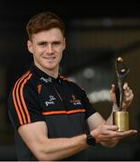 20 September 2021; PwC GAA/GPA Footballer of the Month for September, Conor Meyler of Tyrone, with his award today at his home club Omagh St Enda's GAA in Omagh, Tyrone. Photo by Ramsey Cardy/Sportsfile