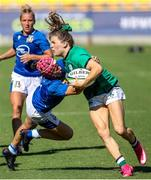 19 September 2021; Beibhinn Parsons of Ireland is tackled by Michela Sillari of Italy during the Rugby World Cup 2022 Europe Qualifying Tournament match between Italy and Ireland at Stadio Sergio Lanfranchi in Parma, Italy. Photo by Roberto Bregani/Sportsfile