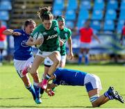 19 September 2021; Beibhinn Parsons of Ireland goes over Michela Sillari of Italy during the Rugby World Cup 2022 Europe Qualifying Tournament match between Italy and Ireland at Stadio Sergio Lanfranchi in Parma, Italy. Photo by Roberto Bregani/Sportsfile