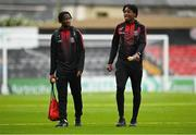 20 September 2021; Roland Idowu, left, and Promise Omochere of Bohemians arrive before the SSE Airtricity League Premier Division match between Bohemians and Derry City at Dalymount Park in Dublin. Photo by Seb Daly/Sportsfile