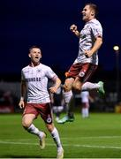 20 September 2021; Liam Burt of Bohemians, right, celebrates with team-mate Andy Lyons after scoring their side's first goal during the SSE Airtricity League Premier Division match between Bohemians and Derry City at Dalymount Park in Dublin. Photo by Seb Daly/Sportsfile