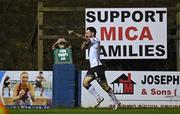17 September 2021; A Finn Harps steward reacts as Patrick Hoban of Dundalk celebrates after scoring his side's third goal during the extra.ie FAI Cup Quarter-Final match between Finn Harps and Dundalk at Finn Park in Ballybofey, Donegal. Photo by Ramsey Cardy/Sportsfile