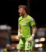 20 September 2021; Derry City goalkeeper Nathan Gartside celebrates his side's second goal, scored by team-mate Junior Ogedi-Uzokwe, during the SSE Airtricity League Premier Division match between Bohemians and Derry City at Dalymount Park in Dublin. Photo by Seb Daly/Sportsfile