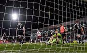 20 September 2021; Derry City goalkeeper Nathan Gartside recats after conceding a second goal, scored by Bohemians' Georgie Kelly, during the SSE Airtricity League Premier Division match between Bohemians and Derry City at Dalymount Park in Dublin. Photo by Seb Daly/Sportsfile