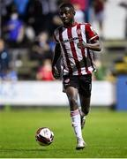 27 August 2021; Junior Ogedi-Uzokwe of Derry City during the extra.ie FAI Cup Second Round match between Finn Harps and Derry City at Finn Park in Ballybofey, Donegal. Photo by Ramsey Cardy/Sportsfile