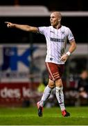 20 September 2021; Georgie Kelly of Bohemians celebrates after scoring his side's second goal during the SSE Airtricity League Premier Division match between Bohemians and Derry City at Dalymount Park in Dublin. Photo by Seb Daly/Sportsfile