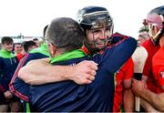 19 September 2021; Jack Kelly of Rapparees celebrates with a supporter after his side's victory in the Wexford Senior County Hurling Championship Final match between St Anne's Rathangan and Rapparees at Chadwicks Wexford Park in Wexford. Photo by Piaras Ó Mídheach/Sportsfile