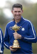 21 September 2021; Team Europe captain Padraig Harrington with the Ryder Cup before a practice round prior to the Ryder Cup 2021 Matches at Whistling Straits in Kohler, Wisconsin, USA. Photo by Tom Russo/Sportsfile