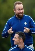 21 September 2021; Shane Lowry, top, and Rory McIlroy during a Team Europe squad photo session prior to the Ryder Cup 2021 Matches at Whistling Straits in Kohler, Wisconsin, USA. Photo by Tom Russo/Sportsfile