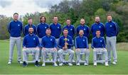 21 September 2021; Team Europe, back row, from left, Bernd Wiesberger, Matt Fitzpatrick, Tommy Fleetwood, Paul Casey, Viktor Hovland, Tyrrell Hatton, Shane Lowry and Ian Poulter, with front from left, Jon Rahm, Lee Westwood, team captain Padraig Harrington, Sergio Garcia and Rory McIlroy during a squad photo session prior to the Ryder Cup 2021 Matches at Whistling Straits in Kohler, Wisconsin, USA. Photo by Tom Russo/Sportsfile