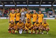 21 September 2021; The Australia team, back row, from left, Clare Polkinghorne, Alanna Kennedy, Mackenzie Arnold, Steph Catley, Courtney Nevin and Kyra Cooney-Cross, with, front row, from left, Tameka Yallop, Sam Kerr, Mary Fowler, Emily Gielnik and Chloe Logarzo before the women's international friendly match between Republic of Ireland and Australia at Tallaght Stadium in Dublin. Photo by Seb Daly/Sportsfile
