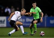21 September 2021; Sean Boyd of Finn Harps in action against Greg Sloggett of Dundalk during the extra.ie FAI Cup Quarter-Final Replay match between Dundalk and Finn Harps at Oriel Park in Dundalk, Louth. Photo by Ben McShane/Sportsfile