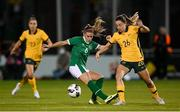 21 September 2021; Clare Wheeler of Australia in action against Jamie Finn of Republic of Ireland during the women's international friendly match between Republic of Ireland and Australia at Tallaght Stadium in Dublin. Photo by Stephen McCarthy/Sportsfile