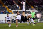 21 September 2021; Patrick Hoban of Dundalk overhead kicks in the lead up his side's first goal, scored by Sean Murray of Dundalk, during the extra.ie FAI Cup Quarter-Final Replay match between Dundalk and Finn Harps at Oriel Park in Dundalk, Louth. Photo by Ben McShane/Sportsfile