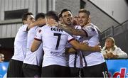 21 September 2021; Sean Murray of Dundalk celebrates after scoring his side's first goal with team-mates, including Patrick Hoban, second from right, who assisted, during the extra.ie FAI Cup Quarter-Final Replay match between Dundalk and Finn Harps at Oriel Park in Dundalk, Louth. Photo by Ben McShane/Sportsfile