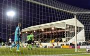 21 September 2021; Dundalk goalkeeper Peter Cherrie looks on as Sean Boyd, right, celebrates with Finn Harps team-mate Barry McNamee, 11, after scoring his side's first goal during the extra.ie FAI Cup Quarter-Final Replay match between Dundalk and Finn Harps at Oriel Park in Dundalk, Louth. Photo by Ben McShane/Sportsfile