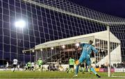 21 September 2021; Dundalk goalkeeper Peter Cherrie throws the ball from the goal after conceding his side's first goal, scored by Sean Boyd of Finn Harps, during the extra.ie FAI Cup Quarter-Final Replay match between Dundalk and Finn Harps at Oriel Park in Dundalk, Louth. Photo by Ben McShane/Sportsfile