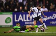 21 September 2021; Sean Murray of Dundalk is tackled by Kosovar Sadiki of Finn Harps during the extra.ie FAI Cup Quarter-Final Replay match between Dundalk and Finn Harps at Oriel Park in Dundalk, Louth. Photo by Ben McShane/Sportsfile