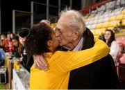 21 September 2021; Mary Fowler of Australia with her grandfather Kevin Fowler, from Ballymun, Dublin, following the women's international friendly match between Republic of Ireland and Australia at Tallaght Stadium in Dublin. Photo by Stephen McCarthy/Sportsfile