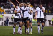 21 September 2021; Patrick Hoban, left, celebrates after scoring his side's second goal, a penalty, with Dundalk team-mates, including Sami Ben Amar during the extra.ie FAI Cup Quarter-Final Replay match between Dundalk and Finn Harps at Oriel Park in Dundalk, Louth. Photo by Ben McShane/Sportsfile