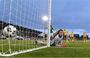 21 September 2021; Australia goalkeeper Mackenzie Arnold is beaten by a free kick from Lucy Quinn of Republic of Ireland for their opening goal during the women's international friendly match between Republic of Ireland and Australia at Tallaght Stadium in Dublin. Photo by Stephen McCarthy/Sportsfile
