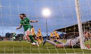21 September 2021; Niamh Fahey of Republic of Ireland celebrates her side's second goal scored by team-mate Denise O'Sullivan past Australia goalkeeper Mackenzie Arnold during the women's international friendly match between Republic of Ireland and Australia at Tallaght Stadium in Dublin. Photo by Stephen McCarthy/Sportsfile