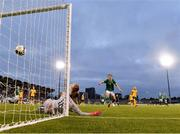 21 September 2021; Australia goalkeeper Mackenzie Arnold is beaten by a shot from Denise O'Sullivan of Republic of Ireland for their second goal during the women's international friendly match between Republic of Ireland and Australia at Tallaght Stadium in Dublin. Photo by Stephen McCarthy/Sportsfile