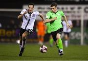 21 September 2021; Dan Hawkins of Finn Harps in action against Raivis Jurkovskis of Dundalk during the extra.ie FAI Cup Quarter-Final Replay match between Dundalk and Finn Harps at Oriel Park in Dundalk, Louth. Photo by Ben McShane/Sportsfile