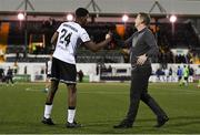 21 September 2021; Dundalk head coach Vinny Perth congratulates Mayowa Animashaun of Dundalk after their victory in the extra.ie FAI Cup Quarter-Final Replay match between Dundalk and Finn Harps at Oriel Park in Dundalk, Louth. Photo by Ben McShane/Sportsfile
