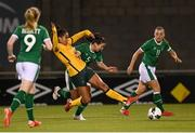 21 September 2021; Mary Fowler of Australia in action against Niamh Fahey of Republic of Ireland during the women's international friendly match between Republic of Ireland and Australia at Tallaght Stadium in Dublin. Photo by Stephen McCarthy/Sportsfile