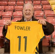 21 September 2021; Kevin Fowler from Ballymun in Dublin, holds up the jersey given to him by his granddaughter Mary Fowler of Australia following the women's international friendly match between Republic of Ireland and Australia at Tallaght Stadium in Dublin. Photo by Stephen McCarthy/Sportsfile