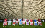 22 September 2021; SSE Airtricity League FIFA 22 Club Packs are back. Featuring the individual club crest of all 10 Premier Division teams, these exclusive sleeves will be available to download free from https://www.ea.com/games/fifa/fifa-22 when the game launches Friday, 1st October! SSE Airtricity League Premier Division players, from left, Robbie Benson of St Patrick's Athletic, Dylan Watts of Shamrock Rovers, Will Patching of Dundalk, Georgie Kelly of Bohemians, Sean Boyd of Finn Harps, Eoin Toal of Derry City, James Brown of Drogheda United, David Cawley of Sligo Rovers, Shane Griffin of Waterford and Dean Zambra of Longford Town during the launch at Sport Ireland National Indoor Arena at the Sport Ireland Campus in Dublin. Photo by Stephen McCarthy/Sportsfile