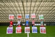 22 September 2021; SSE Airtricity League FIFA 22 Club Packs are back. Featuring the individual club crest of all 10 Premier Division teams, these exclusive sleeves will be available to download free from https://www.ea.com/games/fifa/fifa-22 when the game launches Friday, 1st October! SSE Airtricity League Premier Division players, back row, from left, Robbie Benson of St Patrick's Athletic, Will Patching of Dundalk, Sean Boyd of Finn Harps, Eoin Toal of Derry City and Dylan Watts of Shamrock Rovers with, front row, James Brown of Drogheda United, David Cawley of Sligo Rovers, Georgie Kelly of Bohemians, Shane Griffin of Waterford and Dean Zambra of Longford Town during the launch at Sport Ireland National Indoor Arena at the Sport Ireland Campus in Dublin. Photo by Stephen McCarthy/Sportsfile