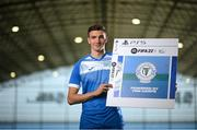 22 September 2021; SSE Airtricity League FIFA 22 Club Packs are back. Featuring the individual club crest of all 10 Premier Division teams, these exclusive sleeves will be available to download free from https://www.ea.com/games/fifa/fifa-22 when the game launches Friday, 1st October! Sean Boyd of Finn Harps during the launch at Sport Ireland National Indoor Arena at the Sport Ireland Campus in Dublin. Photo by Stephen McCarthy/Sportsfile