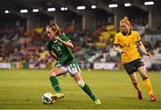 21 September 2021; Heather Payne of Republic of Ireland and Clare Polkinghorne of Australia during the women's international friendly match between Republic of Ireland and Australia at Tallaght Stadium in Dublin. Photo by Seb Daly/Sportsfile