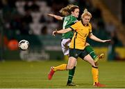 21 September 2021; Clare Polkinghorne of Australia in action against Heather Payne of Republic of Ireland during the women's international friendly match between Republic of Ireland and Australia at Tallaght Stadium in Dublin. Photo by Seb Daly/Sportsfile