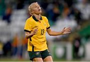 21 September 2021; Tameka Yallop of Australia reacts after shooting wide during the women's international friendly match between Republic of Ireland and Australia at Tallaght Stadium in Dublin. Photo by Seb Daly/Sportsfile