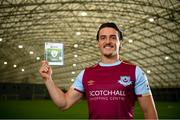 22 September 2021; SSE Airtricity League FIFA 22 Club Packs are back. Featuring the individual club crest of all 10 Premier Division teams, these exclusive sleeves will be available to download free from https://www.ea.com/games/fifa/fifa-22 when the game launches Friday, 1st October! James Brown of Drogheda United during the launch at Sport Ireland National Indoor Arena at the Sport Ireland Campus in Dublin. Photo by Stephen McCarthy/Sportsfile