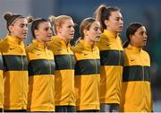 21 September 2021; Australia players, from left, Steph Catley, Chloe Logarzo, Clare Polkinghorne, Courtney Nevin, goalkeeper Mackenzie Arnold and Sam Kerr during the national anthem before the women's international friendly match between Republic of Ireland and Australia at Tallaght Stadium in Dublin. Photo by Seb Daly/Sportsfile
