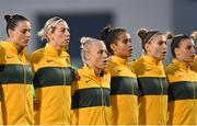 21 September 2021; Australia players, from left, Emily Gielnik, Alanna Kennedy, Tameka Yallop, Mary Fowler, Steph Catley and Chloe Logarzo during the national anthem before the women's international friendly match between Republic of Ireland and Australia at Tallaght Stadium in Dublin. Photo by Seb Daly/Sportsfile