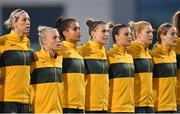 21 September 2021; Australia players, from left, Alanna Kennedy, Tameka Yallop, Mary Fowler, Steph Catley, Chloe Logarzo, Clare Polkinghorne, and Courtney Nevin during the national anthem before the women's international friendly match between Republic of Ireland and Australia at Tallaght Stadium in Dublin. Photo by Seb Daly/Sportsfile
