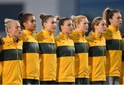 21 September 2021; Australia players, from left, Tameka Yallop, Mary Fowler, Steph Catley, Chloe Logarzo, Clare Polkinghorne, Courtney Nevin and goalkeeper Mackenzie Arnold during the national anthem before the women's international friendly match between Republic of Ireland and Australia at Tallaght Stadium in Dublin. Photo by Seb Daly/Sportsfile