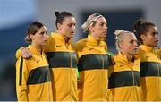 21 September 2021; Australia players, from left, Kyra Cooney-Cross, Emily Gielnik, Alanna Kennedy, Tameka Yallop and Mary Fowler during the national anthem before the women's international friendly match between Republic of Ireland and Australia at Tallaght Stadium in Dublin. Photo by Seb Daly/Sportsfile