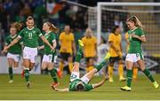 21 September 2021; Lucy Quinn of Republic of Ireland celebrates after scoring her side's first goal during the women's international friendly match between Republic of Ireland and Australia at Tallaght Stadium in Dublin. Photo by Seb Daly/Sportsfile