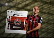 22 September 2021; SSE Airtricity League FIFA 22 Club Packs are back. Featuring the individual club crest of all 10 Premier Division teams, these exclusive sleeves will be available to download free from https://www.ea.com/games/fifa/fifa-22 when the game launches Friday, 1st October! Georgie Kelly of Bohemians during the launch at Sport Ireland National Indoor Arena at the Sport Ireland Campus in Dublin. Photo by Stephen McCarthy/Sportsfile