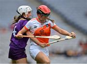 12 September 2021; Bernie Murray of Armagh is tackled by Sinéad Furlong of Wexford during the All-Ireland Premier Junior Camogie Championship Final match between Armagh and Wexford at Croke Park in Dublin. Photo by Piaras Ó Mídheach/Sportsfile