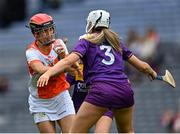 12 September 2021; Bernie Murray of Armagh in action against Aisling Halligan of Wexford during the All-Ireland Premier Junior Camogie Championship Final match between Armagh and Wexford at Croke Park in Dublin. Photo by Piaras Ó Mídheach/Sportsfile