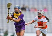 12 September 2021; Chloe Cashe of Wexford in action against Michelle McArdle of Armagh during the All-Ireland Premier Junior Camogie Championship Final match between Armagh and Wexford at Croke Park in Dublin. Photo by Piaras Ó Mídheach/Sportsfile