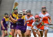 12 September 2021; Emma Tomkins of Wexford in action against Katie Convie of Armagh during the All-Ireland Premier Junior Camogie Championship Final match between Armagh and Wexford at Croke Park in Dublin. Photo by Piaras Ó Mídheach/Sportsfile